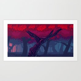 Pixel Red Forest Art Print