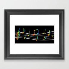 Rainbow Music Notes on Black Framed Art Print