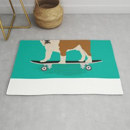 English bulldog skateboard funny pet portrait cute gift for dog person dog lover bulldog owner gifts Rug