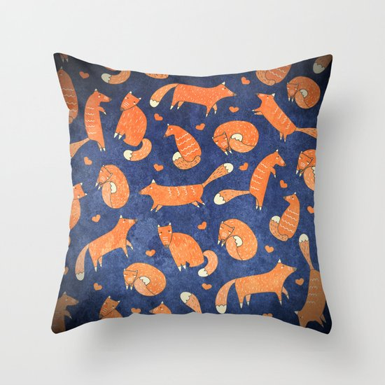 Cute Throw Pillow Society6 : Foxes at Night - Cute Fox Pattern Throw Pillow by Bear & Mouse - Cute4Kids Society6