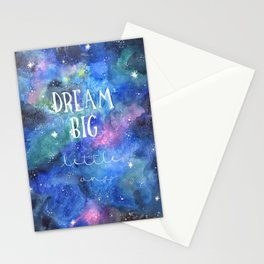 Dream Big Little One | Night Sky | Watercolor | Illustration | Galaxy Stationery Cards
