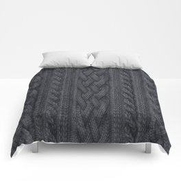 Charcoal Cable Knit Comforters