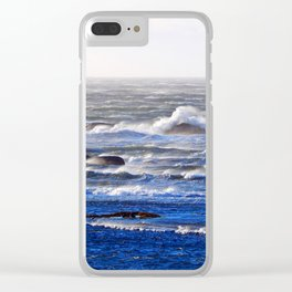 Wind Blown Stormy Seas Clear iPhone Case