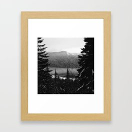 Snowy view along the Trail of Shadows. Framed Art Print