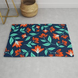 Japanese Floral Print - Red and Navy Blue Rug