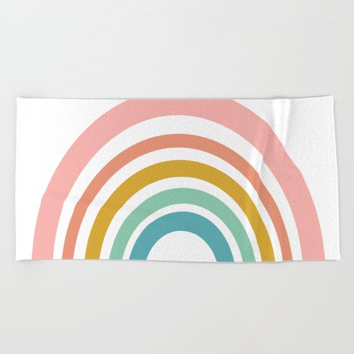 Simple Happy Rainbow Art Beach Towel