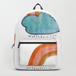 handmade watercolor rainy rainbow Backpack