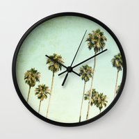 palm trees Wall Clocks featuring palm trees by Mareike Böhmer