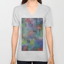 Abstract pixel pattern Unisex V-Neck