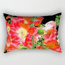 Modern Art Reddish Pink Colored Hollyhocks Black-white Pattern Rectangular Pillow