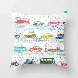 cars in the rain Throw Pillow