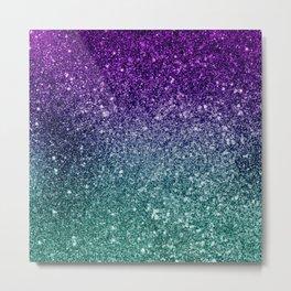 Pretty Sparkly Purple Blue Turquoise Glitter Gradient Metal Print