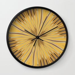Yellow and Ochre Flower Pattern Abstract 2 Wall Clock