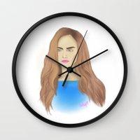 cara delevingne Wall Clocks featuring Cara Delevingne by Ira Lapshina