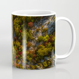 Aerial drone view of amazing autumn colors in fall forest. Coffee Mug