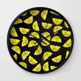 Lemon Slices Pattern Chalkboard Wall Clock
