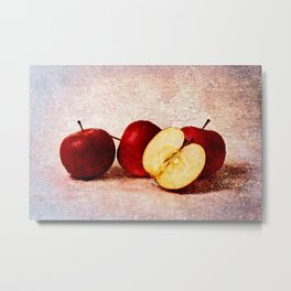Three Apples And A Half Stylish Still Life Metal Print