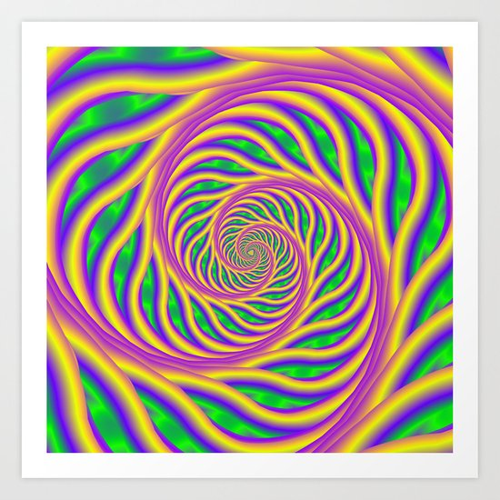Green Pink and Yellow Spiral Art Print