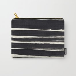 Black Paint Lines on Ivory Carry-All Pouch
