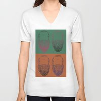popart V-neck T-shirts featuring Socrates Beard PopArt by Britbee CokerMoen