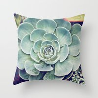 succulent Throw Pillows featuring Succulent by Holli Dunn Photography