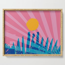 Yellow sun in the pink sky of the French Riviera Serving Tray