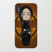 katniss iPhone & iPod Cases featuring Kokeshi Katniss by Pendientera