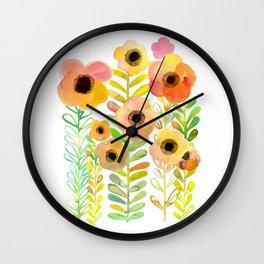 Peony field Wall Clock