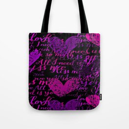Kiss Me, Miss Me Purple Tote Bag