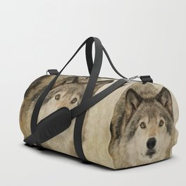 Timber Wolf Portrait Duffle Bag