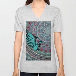 Turquoise Bird Unisex V-Neck