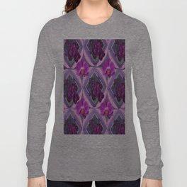 Pink-Purple Orchids Pattern ArtDeco Design Long Sleeve T-shirt