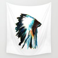 headdress Wall Tapestries featuring Headdress by James Peart