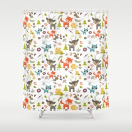 Cute Woodland Creatures Pattern Shower Curtain