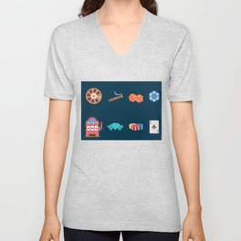 Roulette, Slots, Chips, Dice, Diamond & Cards - Nevada Day Unisex V-Neck