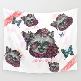 Cat and Roses Wall Tapestry