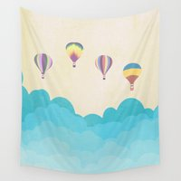 hot air balloons Wall Tapestries featuring hot air balloons by studiomarshallarts