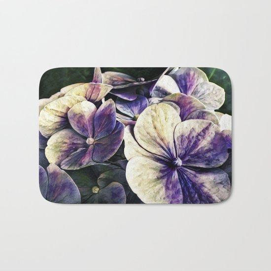Hortensia flowers in vintage grunge watercoloring style Bath Mat