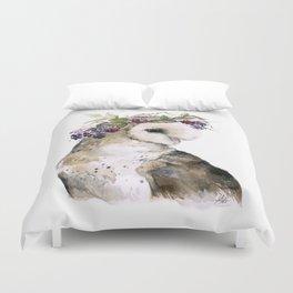 Flower Crowned Barn Owl Duvet Cover