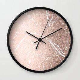 Paris France Minimal Street Map - Rose Gold Glitter on White Wall Clock
