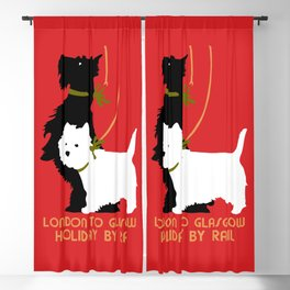 Retro London and Glasgow by train, dogs terriers Blackout Curtain