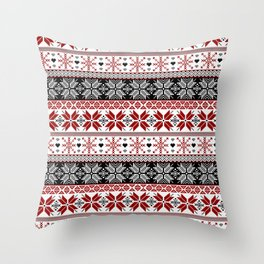 Winter Fair Isle Pattern Throw Pillow