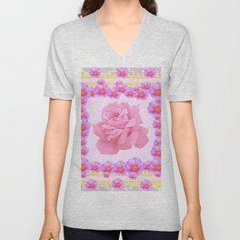 """ORIGINAL PINK ART OF THE """"FRAGRANCE OF PINK ROSES"""" Unisex V-Neck"""