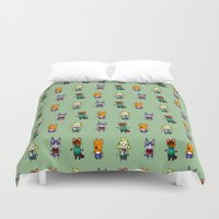 animal crossing Duvet Covers featuring Animal Crossing Design 5 by Caleb Cowan
