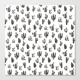 Black Cactus Garden Pattern Canvas Print