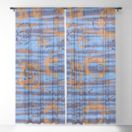 Loopy in Blue & Orange Sheer Curtain