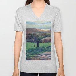 """Paul Gauguin """"Landscape from Bretagne"""" Unisex V-Neck"""