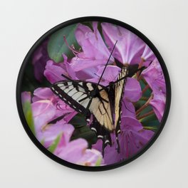 Monarch on Rhododendron Wall Clock
