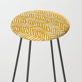Boho Abstract Herringbone Pattern, Summer Yellow Counter Stool