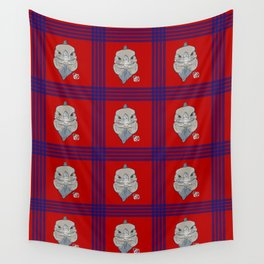 Rhino Iguana Plaid Wall Tapestry